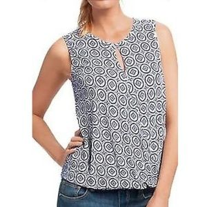 Cabi Blue and White Sleeveless Top